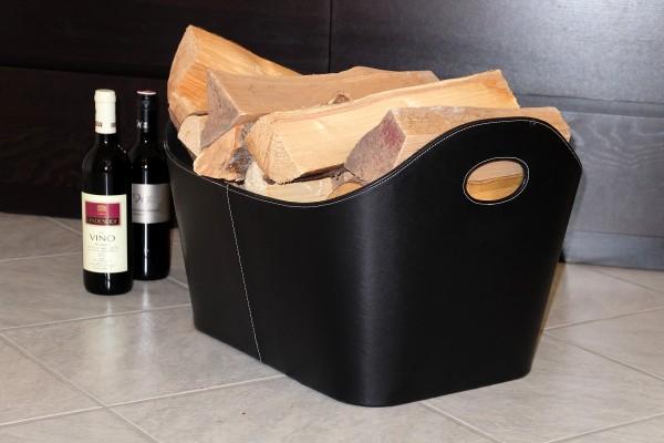 Holzkorb aus Kunstleder in schwarz - Innen mit Vlies