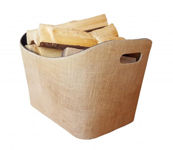 Holzkorb / Außen Jute und innen aus grauem Filz mit 2 Grifflöchern