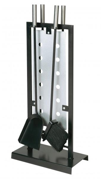 Kaminbesteck (4-teilig) schwarz beschichtet, Griffe und Einsatz edelstahlfärbig