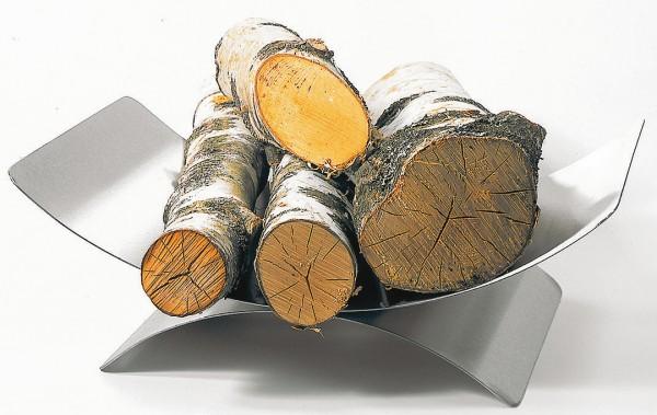 Holzkorb / Holzschale Edelstahl matt gebürstet