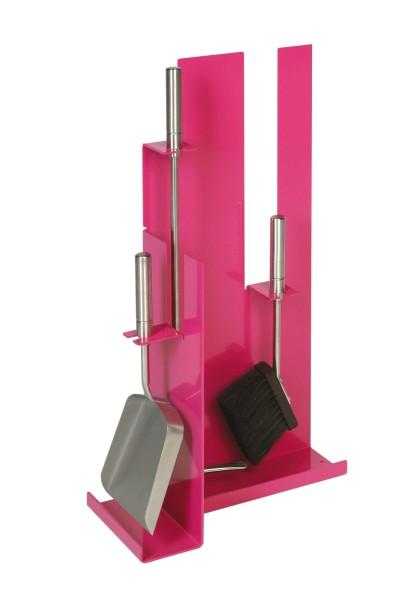 Kaminbesteck (3-teilig) pink beschichtet, Besteck & Griffe in Edelstahl