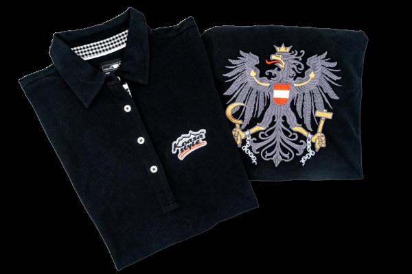 Österreich Herren Polo in Schwarz mit Karo-Kragen SW/W (bestickter Österreich Adler)