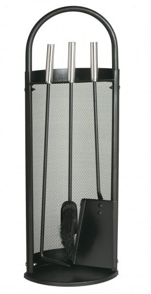 Kaminbesteck (3-teilig) schwarz beschichtet, Griffe edelstahlfärbig, Gitter schwarz