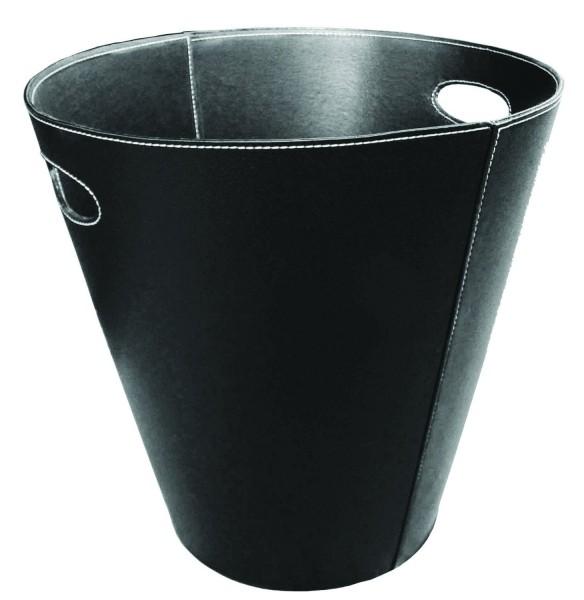 Holzkorb / Kunstlederkorb in schwarz mit Grifflöchern