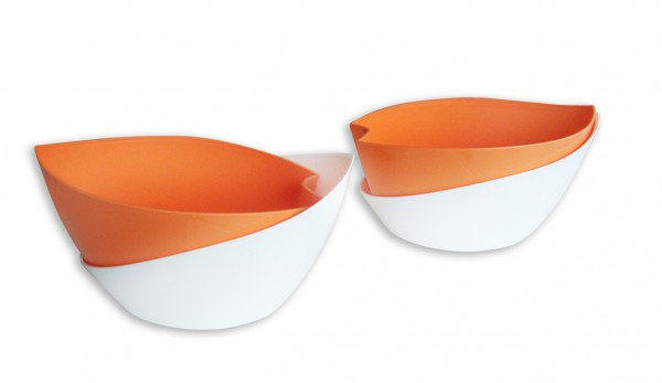 Selbstbewässerungsblumentopf Doppio orange/weiß