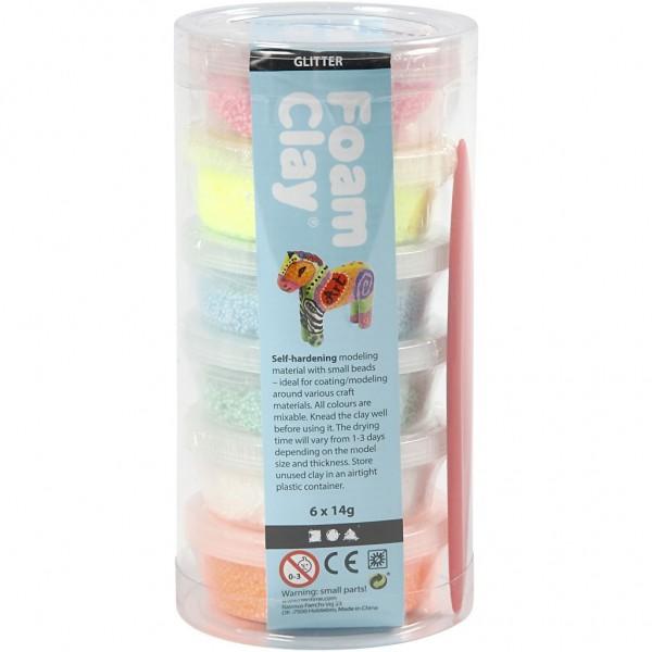 Foam Clay® Modelliermasse, Wolkenschleim Glitter Set 6 x 14g Dosen