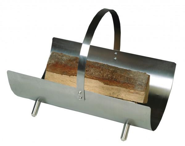 Holzkorb / Holzschale edelstahlfärbig mit Griff