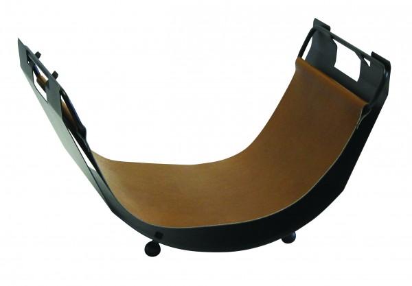 Holzschale - schwarz beschichtet, mit brauner Ledereinlage