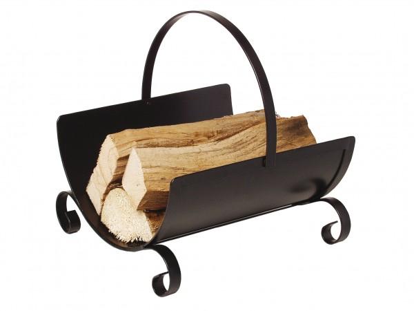 Holzkorb schwarz beschichtet mit umlegbaren Griff