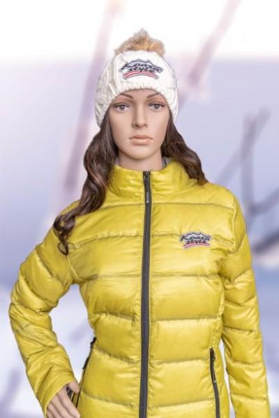 "Damen Daunenjacke Modell ""Kitzbühel"" gelb (Special Edition) bestickter glitzer Österreich Adler"