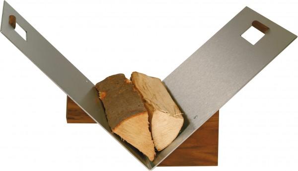 Holzkorb / Holzschale aus Edelstahl, Griffe und Sockel aus Nussholz
