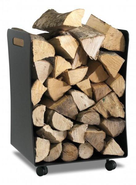 Holzkorb mit Rollen - schwarz beschichtet
