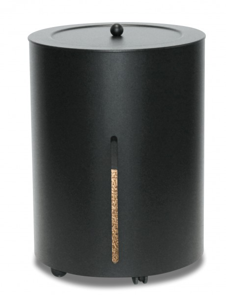 Peletts-Box rund, schwarz beschichtet - Fassungsvermögen 25 Kg