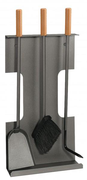 Wand-Kamingarnitur (3-teilig) anthrazit beschichtet, Griffe Buche