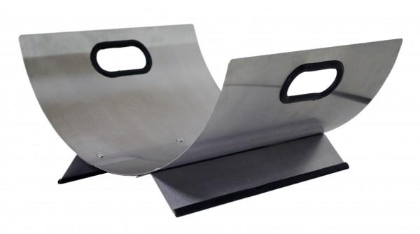 Holzkorb / Holzschale aus Edelstahl, Grifflöcher und Fußteil mit Kunststoff eingefasst