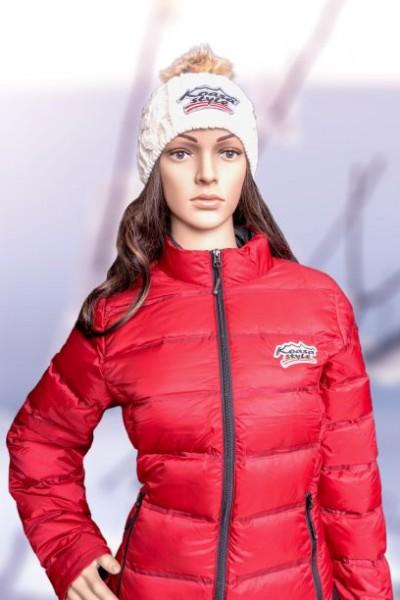 "Damen Daunenjacke Modell ""Kitzbühel"" rot (Special Edition) bestickter glitzer Österreich Adler"
