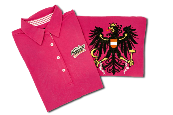 Österreich Damen Polo in Purple mit Karo-Kragen P/PW (bestickter Österreich Adler)
