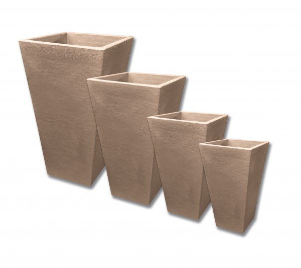 Blumenkassette CAPRI eckig taupe 4er Set