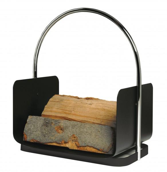 Holzkorb schwarz beschichtet mit Chrombügel