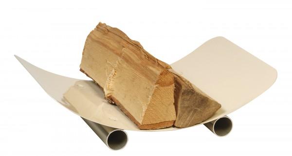 Holzkorb / Holzschale elfenbeinfärbig, Füße aus Edelstahl
