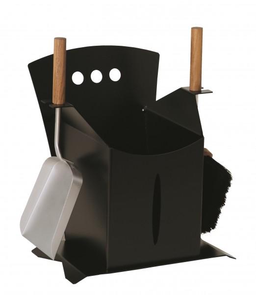 Kaminbesteck (2-teilig) schwarz beschichtet, Besteck aus Edelstahl, Griffe aus Nussholz