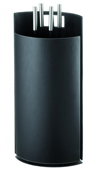 Kaminbesteck (4-teilig) Kunstleder in schwarz, Besteck schwarz, Griffe edelstahlfärbig
