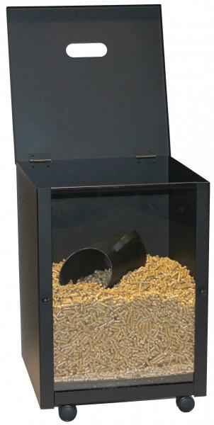 Pellets-Box, schwarz beschichtet - Fassungsvermögen 30 Kg