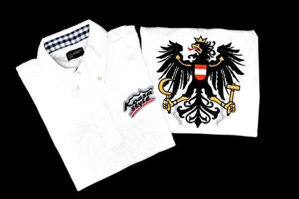 Österreich Herren Polo in Weiß mit Karo-Kragen W/SW (bestickter Österreich Adler)
