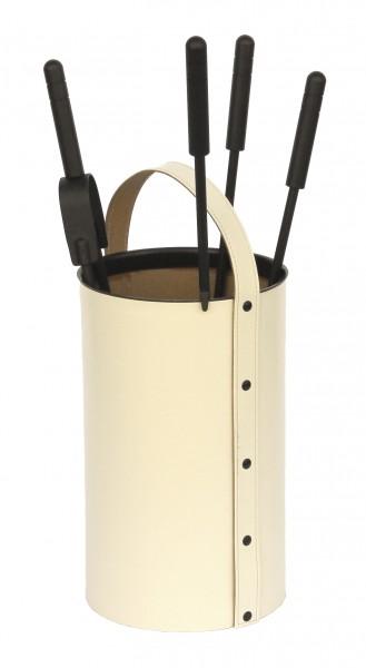 Kaminbesteck rund (4-teilig) regeneriertes Leder in Beige, Besteck & Griffe schwarz beschichtet