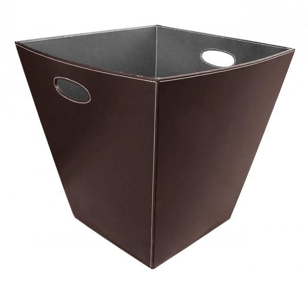 Holzkorb / Kunstlederkorb eckig in Braun mit Grifflöchern