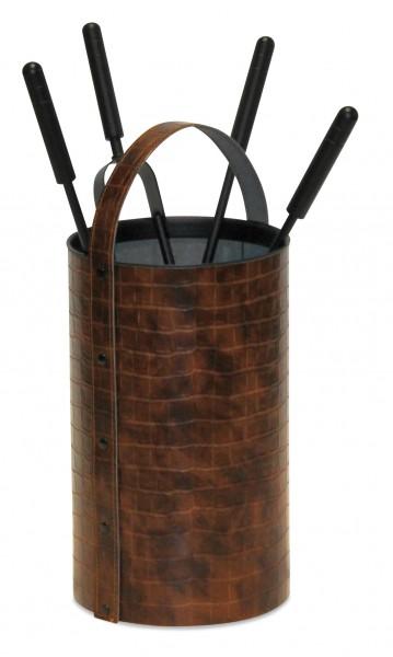 Kaminbesteck (4-teilig) runde Box, Kunstleder im Krokodilhaut-Look
