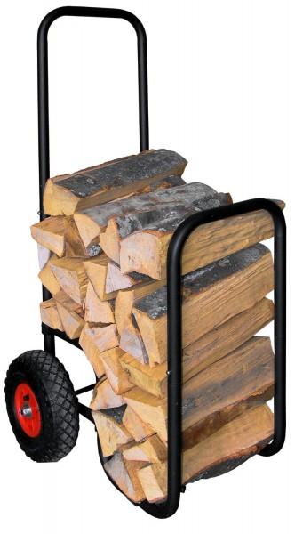 Holzwagen in schwarz mit Gummireifen