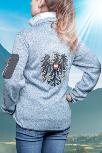 """Damen Strickfleece Jacke """"Kufstein"""" Hellgrau (bestickter Österreich Adler)"""