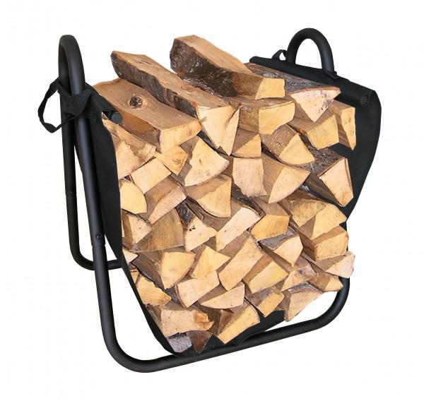 Holzkorb schwarz Kunststoffgeflecht