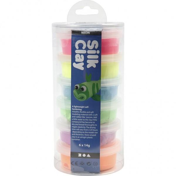 Silk Clay® Modelliermasse Gummischleim Neon-Set 1 / 6 x 14g Dosen