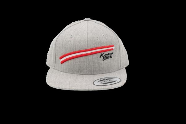 Koasastyle Cap / Flexfit Classic Snapback Grau (mit 3D Österreich Flagge)