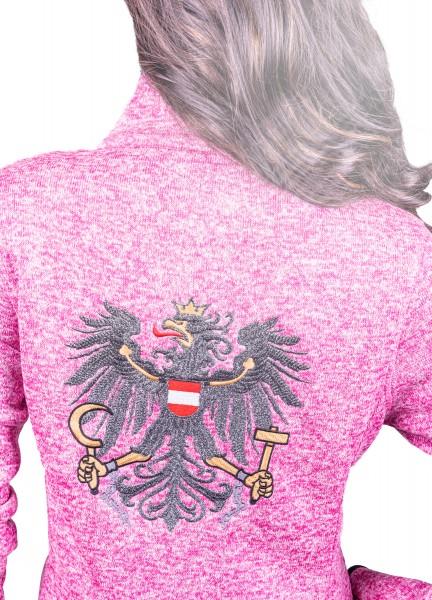 Koasastyle Strickfleecejacke Pink mit glitzer Österreich Adler