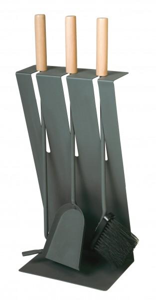 Kaminbesteck (3-teilig) anthrazit beschichtet mit Holzgriffen