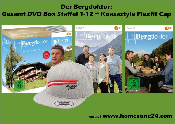 Der Bergdoktor: Gesamt DVD Box Staffel 1-12 + Koasastyle Flexfit Cap