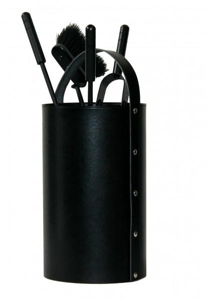 Kaminbesteck rund (4-teilig) regeneriertes Leder in Schwarz, Besteck & Griffe schwarz beschichtet