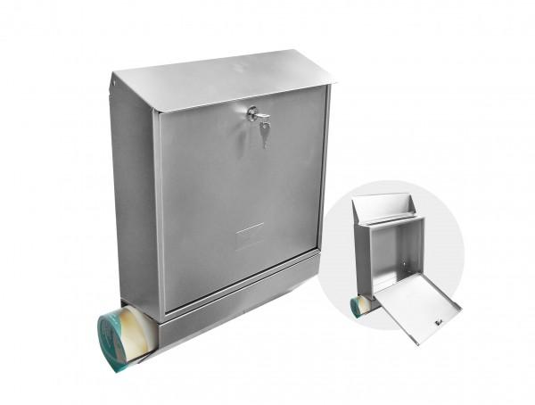 Briefkasten mit integrierter Zeitungsrolle in Silber