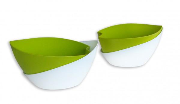 Selbstbewässerungsblumentopf Doppio grün/weiß